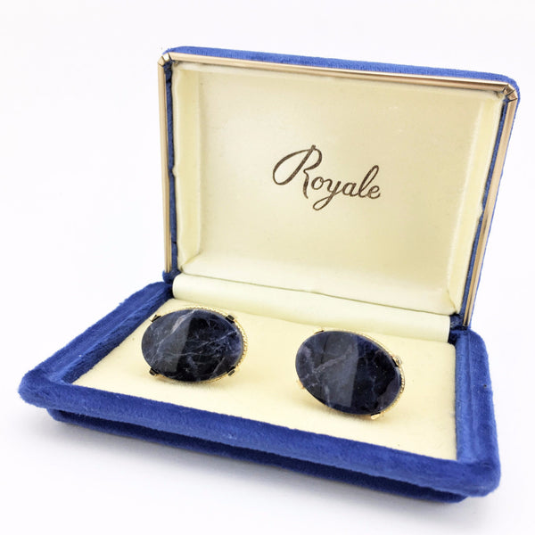 1960s Vintage Men's Cufflinks Set Mad Men Era COUNTESS MARA Gold Tone Metal and Sodalite Stone Cufflinks in Original Box