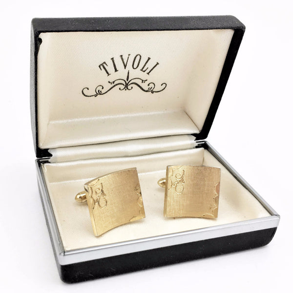 1950s-60s SWANK Cufflinks Set Mad Men Era Mens Vintage Gold Tone Etched Metal Cuff Links by SWANK