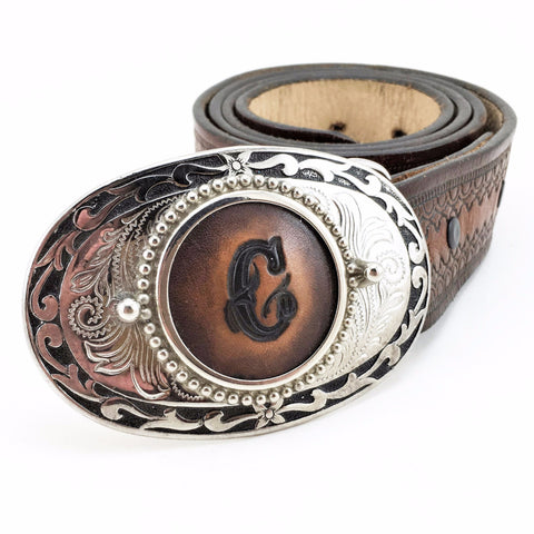 "1970s Western ""C"" Belt Buckle Silver Tone Mens Vintage Belt Buckle with Tooled Leather inset with Stamped initial letter ""C"""