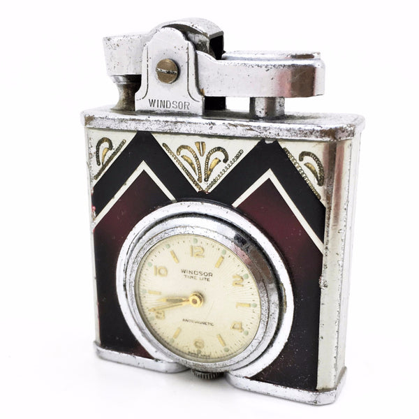 1930s Art Deco Vintage Windsor Time Lite Enameled Lighter with Pocket Watch