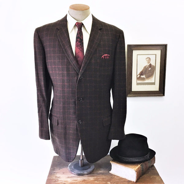 1950s 100% CASHMERE 3 Button Plaid Suit Jacket Men's Vintage Mad Men Era Black, Brown & Red Blazer / Sport Coat by Carey - Size 44