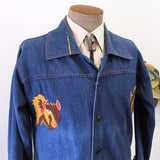 1970s Men's Vintage Western Style Embroidered Dark Blue Denim Jean Jacket with Buffalo Head designs - Size MEDIUM