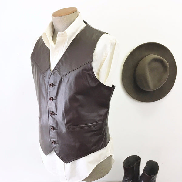 1970s Men's Leather Vest Vintage Dark Brown Western Style Cowboy Shiny Leather Vest from The Leather Shop at SEARS - Size 40 (MEDIUM)