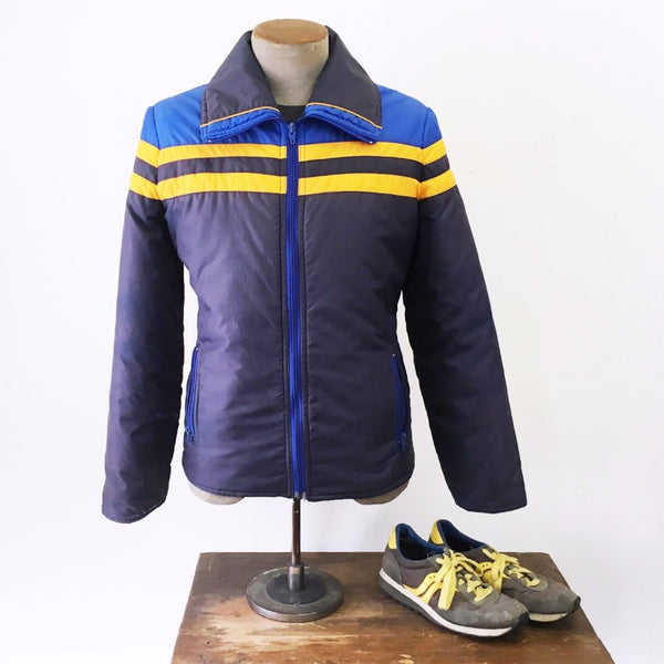 1970s-80s Vintage Men's Ski Coat Blue & Gold Puffy Winter Nylon Jacket stripes by AMEREX Ski Fashions - Size MEDIUM