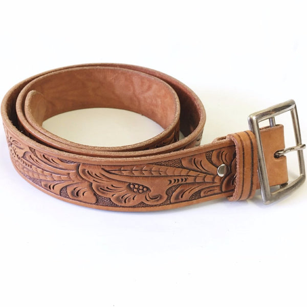 1970s SEARS Vintage Men's Tooled Leather Belt Western Cowboy Style Hand Finished Genuine Leather Belt with removable buckle - 36