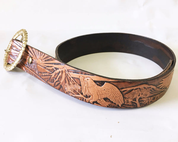 1982 Vintage Tooled Leather Belt Western Cowboy Style Cowhide Leather Belt with stamped American Eagle designs signed D Bell 82 - Size SMALL