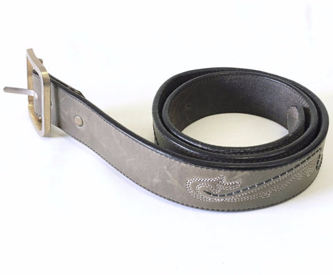 Vintage Men's Gray Leather Belt Western Cowboy Style Genuine Leather Belt with Black & white stitching and removable buckle by LEEGIN
