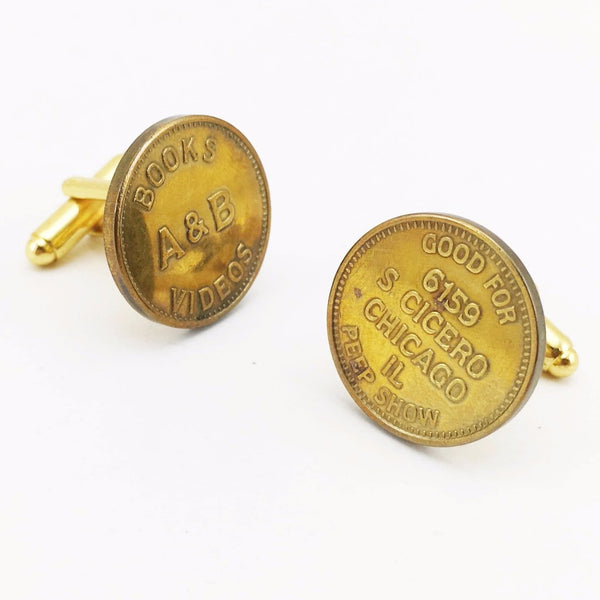 1 Pair Vintage Chicago Peepshow Cufflinks Gold Tone Metal Men's Cufflink Set Made of Peep Show Tokens from A&B Adult Book store, Chicago, IL