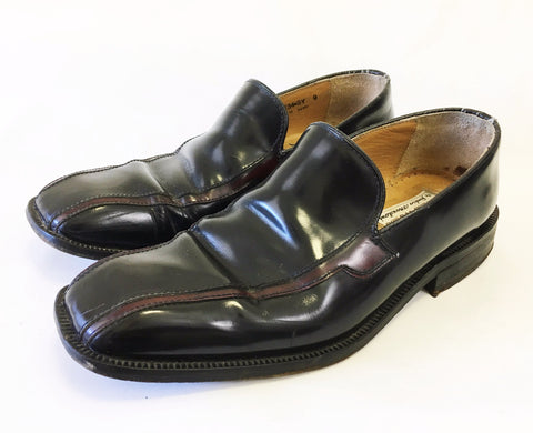 1970s Black & Oxblood Patent Leather Men's Loafers Disco Era Vintage N.E.W.S Shoes by Sandro Moscoloni Made in Spain - SIZE 9