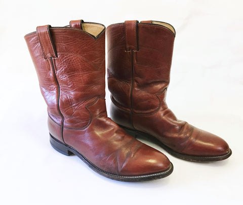 1970s Men's Vintage Motorcycle Boots Brown Leather Western Cowboy Style Short Biker Boots by Justin - SIZE 9.5 D