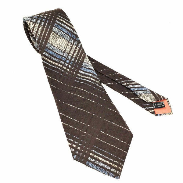 1970s Wide Brown Knit Tie Men's Vintage Disco Era Woven Textured Polyester Wide Necktie Made in ITALY
