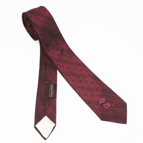 1950-60s COUNTESS MARA Tie Men's Vintage Skinny Narrow Red Shiny Sharkskin Paisley Necktie by Countess Mara, New York, Florence Italy