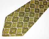 1970s Wide Silk Tie Men's Disco Era Vintage Necktie with Green & Yellow Foulard Designs by John Frederics