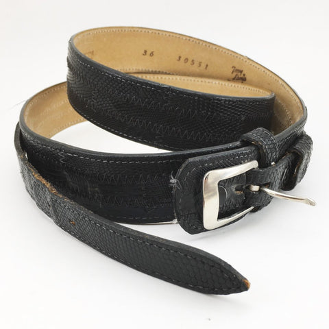 Vintage Tony Lama Men's Black Lizard Belt Western Cowboy Style Genuine Lizard Leather Belt - Size 36