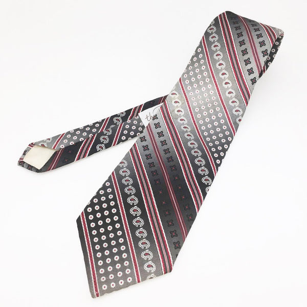 1970s Gray Paisley Necktie Men's Vintage Wide Disco Era 100% Polyester Tie by Pedigree for The Denver Men's Store