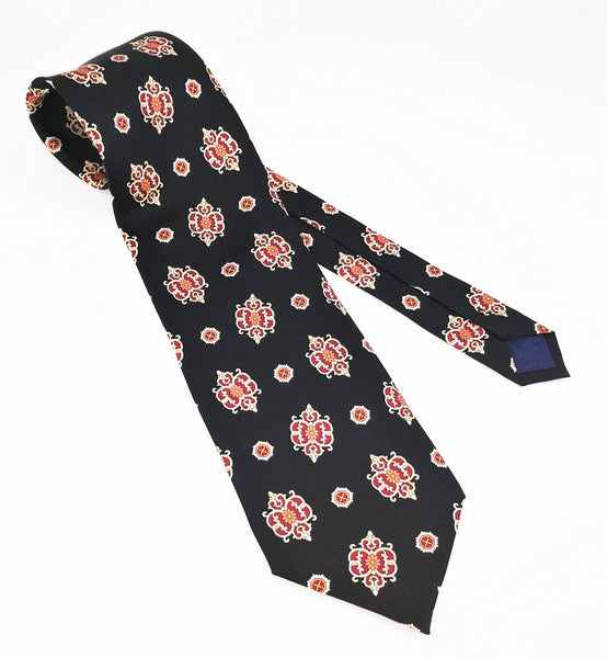 1970s Wide Silk Tie Men's Vintage 100% Silk Black Necktie with Printed Foulard Designs by ILS