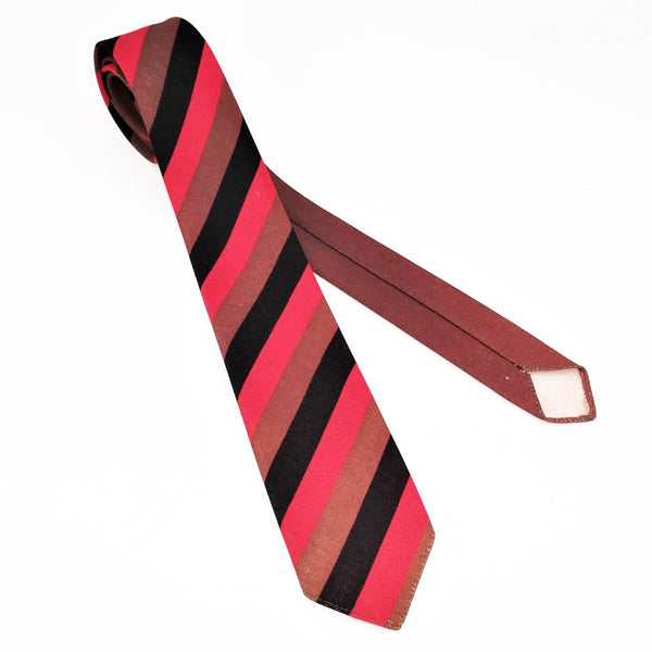 1950s-60s Striped Skinny Tie Men's Vintage Mad Men Era MOD Red, Black & Brown Striped Narrow Necktie