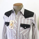 1960s-70s Unworn Vintage Black & White Western Cowboy Style Long Sleeve Shirt with Pearl Snaps by TEX SON - Size Men's XS / Boys 16 Large