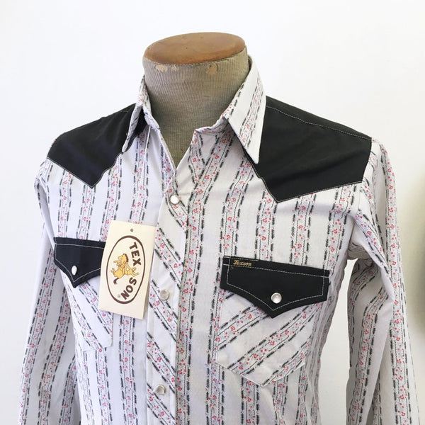 0a652900ac9 1960s-70s Unworn Vintage Black   White Western Cowboy Style Long Sleev –  The Naked Man