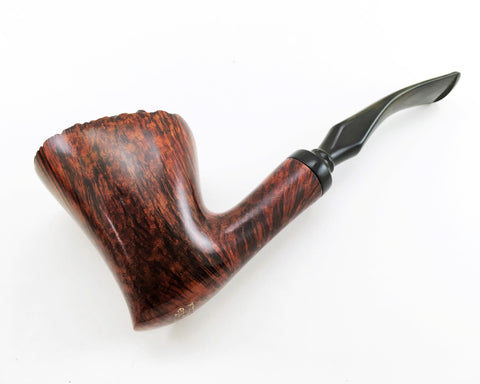 Stunning Vintage Knute of Denmark Freehand Carved Briar Wood Smoking Tobacco Pipe LEFT-HANDED Mid Century Danish Modern Mad Men Era Pipe