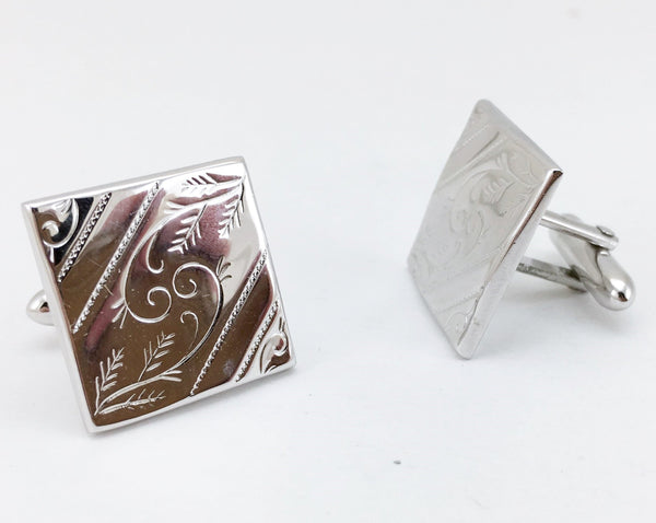 1950s-60s SWANK Cufflinks Large Square Cut Silver Tone Metal Men's Vintage Cufflink Set by SWANK
