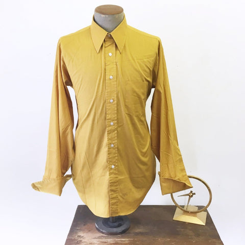 1960s Men's French Cuff Shirt Vintage Mustard Yellow Long Sleeve Mad Men Era Mod Men's Dress Shirt by Arrow - Size LARGE