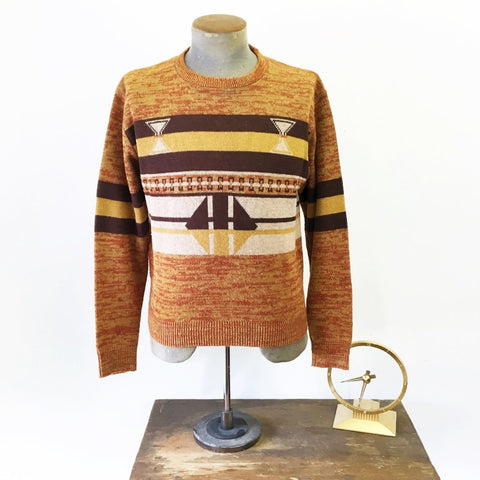 1960s Men's Sweater 100% Virgin Acrylic Knit Brown & Orange Mad Men Era Mod Pullover Sweater - Size MEDIUM