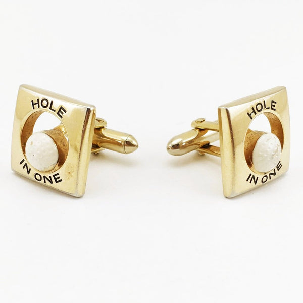 "1960s SWANK Golfing Cufflinks Men's Vintage ""Hole in One"" Gold Tone Metal Cufflink Set with white Golf Balls by SWANK"