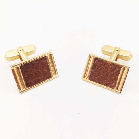1940s-50s SWANK Snakeskin Cufflinks Men's Vintage Rectangular Art Deco Gold Tone Cufflink Set with brown leather Snake Skin inserts by SWANK
