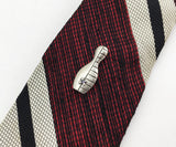 1950s Bowling Pin Tie Tack Mid Century Modern Mad Men Era Vintage Silver Tone Metal Modernist Bowling Pin Tie Pin