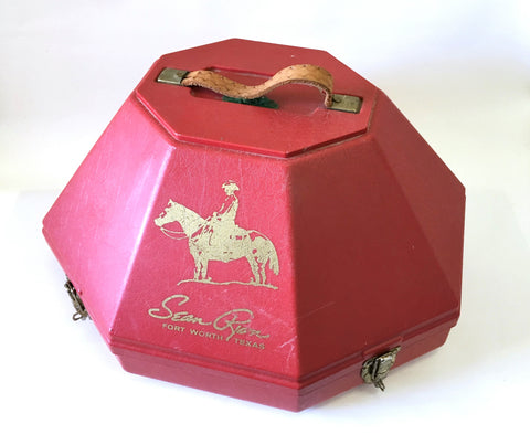 Vintage SEAN RYON Cowboy Hat Can Original Red Plastic Men's Western Hat Box / Hat Carrying Case ONLY by Sean Ryon Fort Worth Texas