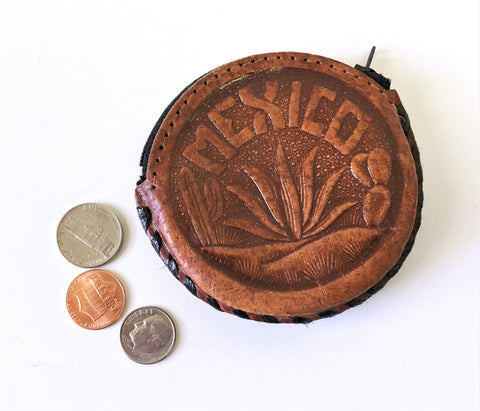 1970s Vintage Tooled Leather Coin Wallet Men's Vintage Hand Tooled Western Style Souvenir of Mexico Coin Purse with zipper