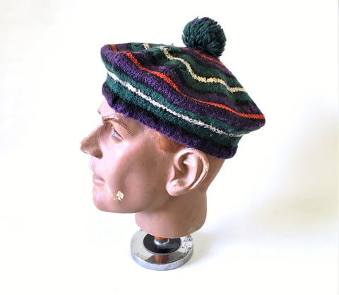 1950s Vintage Men's Tam O'Shanter Hat / Bonnet Mad Men Era Knit Wool Pom Pom Hat by JAEGER Made in Great Britain