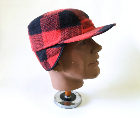 1960s-70s Men's Wool Hunting Cap Mad Men Era Vintage Red & Black Plaid Hat with Ear Flaps Made in USA - SIZE XL