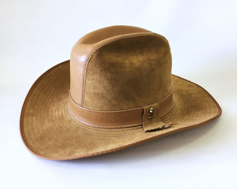 1970s Vintage Men's STETSON for Hush Puppies Brown Suede & Leather Cowboy Hat Western Style Hat - Size 7-1/8