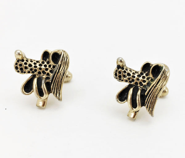 1960s Gold Poodle Cufflinks Men's Vintage Gold Tone Metal Cufflink Set with Goofy Cartoon Dog Heads
