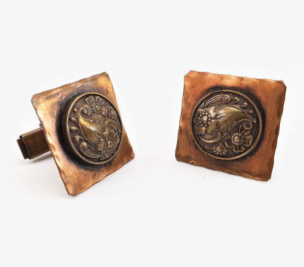 1950s Hammered Copper Cufflinks Set Mid Century Mad Men Era Antiqued Copper Cufflinks with Art Deco Floral designs