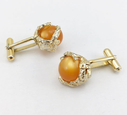1960s-70s Modernist Cufflinks Set Gold Tone Freeform Abstract Mad Men Era Men's Vintage Cufflink Set with orange marbles