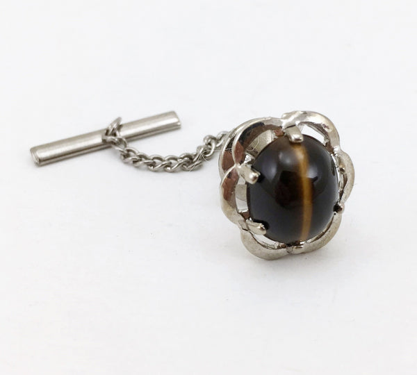 "1960s-70s Tigers Eye Tie Pin Large Modernist Mad Men Era Silver Tone Metal Tie Tack with Brown ""Stone"""