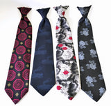 Lot of 4 1970s Vintage Clip on Ties Men's Disco Era Wide Polyester Clip-on Necktie Lot #3