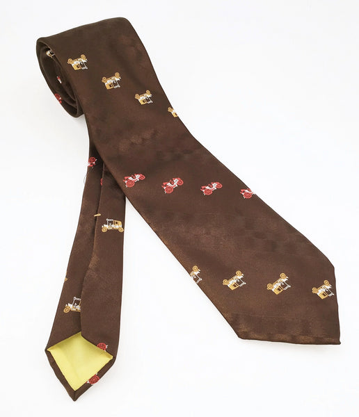 1970s Automobile Tie Disco Era Wide Brown Polyester Men's Vintage Necktie with woven antique car designs Chadwick by Wembley
