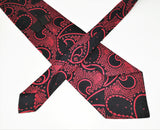1970s Wide Paisley Polyester Tie Men's Vintage Disco Era Red & Black Necktie with Woven Designs