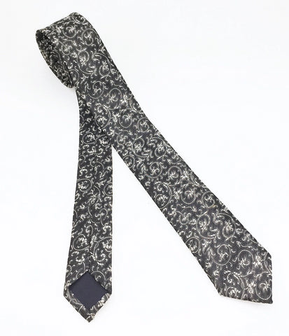 1950s-60s MOD Silver Sharkskin Tie Mad Men Era Skinny Narrow Gray & Silver Men's Vintage Necktie