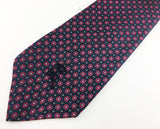 1970s COUNTESS MARA Tie Men's Vintage Navy Blue Necktie with Red and Silver Foulard Designs by Countess Mara New York