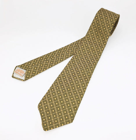 1960s Knit Polyester Tie Mad Men Era Narrow Mid Century Green Yellow Imported Polyester Men's Vintage Necktie by GRENADA