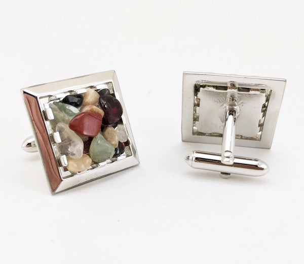 1960s SWANK Gemstone Cufflinks Men's Vintage Mad Men Era Modernist Silver Tone Metal Cufflink Set with Semi-precious Stones