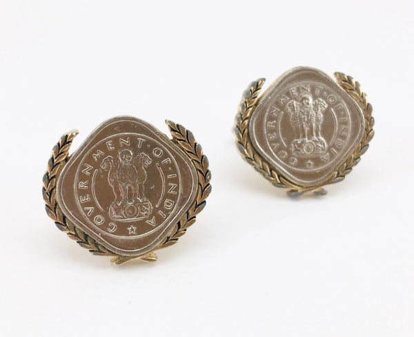 1960s SWANK Indian Coin Cufflinks Men's Vintage Gold Tone Metal Cufflink Set with Silver Coins from India by SWANK