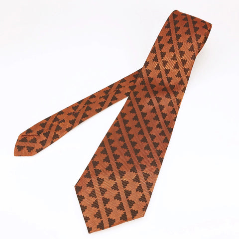 1960s MOD Copper Orange Tie Mad Men Era Mid Century Copper & Brown Woven Shiny Sharkskin Men's Vintage Necktie