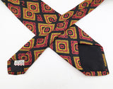1950s Silk Skinny Tie Men's Vintage Mad Men Era Mod Black Narrow Silk Necktie with printed designs by ALUMNUS