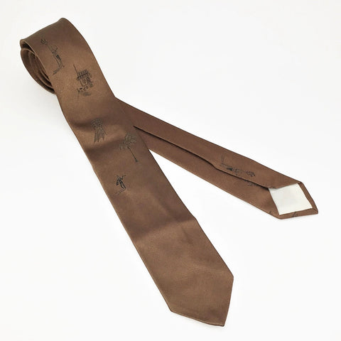1950s French Themed Brown Skinny Tie Men's Vintage MOD All Silk Mad Men Era Necktie with Black Paris France Designs by Comte de France